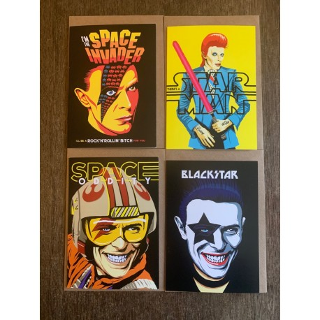 Set of four Butcher Billy Bowie cards