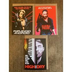 Set of three Butcher Billy Radiohead cards